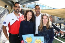 Stories For Simon Book launch. Author Lisa Sarzin and illustrator Lauren Briggs pictured withSwans AFL players Adam Goodes and Michael O'Loughlin. Photo: Australian Jewish News/www.jewishnews.net.au