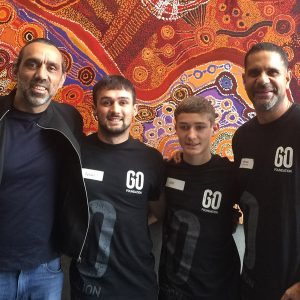 Adam, Tyran, Joel and Michael at the GO Foundation mentoring Day, May 2021